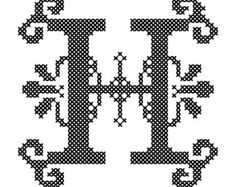 Counted Cross Stitch Pattern Formal Letters for Initials  Letter H - Instant Download Epattern PDF File