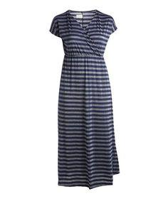 414247e494 Look what I found on  zulily! Navy   Gray Stripe Surplice Maxi Dress -