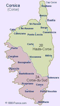 Map of Corsica (Corse) @ 1800-France.com