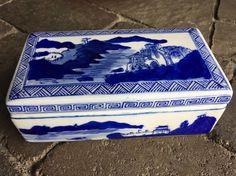 Vintage Asian Blue & White Rectangle Covered Box  | eBay