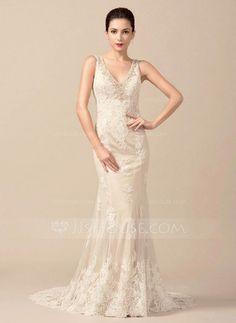 Trumpet/Mermaid V-neck Sweep Train Tulle Lace Wedding Dress With Beading (002066958) - JJsHouse