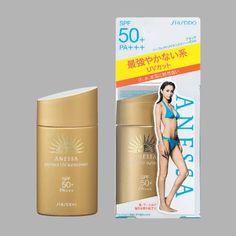Kem chống nắng của nhật anessa của shiseido với chỉ số SPF 50: màu vàng cho người đi nắng nhiều, đi biển, màu hồng cho dân công sở làm trắng da + kem lót trang điểm.
