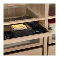 KOMPLEMENT Pull-out tray with divider - white stained oak effect/transparent, 100x58 cm - IKEA
