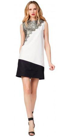 Lace Detail Blocked Dress