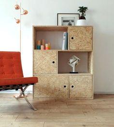 OSB trend: 20 ideas for adopting it indoors - Diy Möbel Osb Plywood, Plywood Furniture, Cool Furniture, Furniture Design, Plywood Storage, Modular Furniture, Furniture Stores, Diy Casa, Storage Design