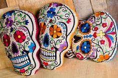 Día de los Muertos Embroidered Sugar Skull Pillows - $24.95 each @ Earthbound Trading Company