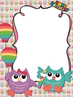 Birthday Photo Frame, Happy Birthday Frame, Owl Theme Classroom, Classroom Crafts, Owl Facts, September Crafts, Kindergarten Coloring Pages, Owl Clip Art, Boarders And Frames
