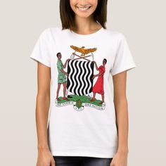 Shop Zambia Coat of Arms T-Shirt created by ZambiaStore. Zambia Flag, Front Design, Coat Of Arms, Wardrobe Staples, Shirt Style, Colorful Shirts, Kids Outfits, Fitness Models, Shirt Designs