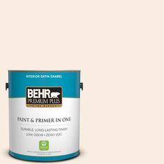 BEHR Premium Plus 1-gal. #250A-1 Fine White Zero VOC Satin Enamel Interior Paint