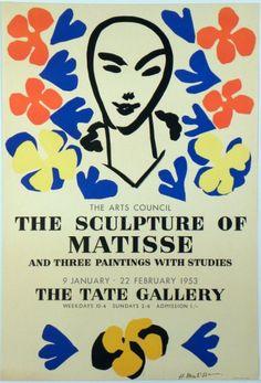 Original Künstler Plakat Matisse Original Artist Poster Matisse Affiche original Henri Matisse  title The Sculpture of Matisse  technology Lithography in 5 colors