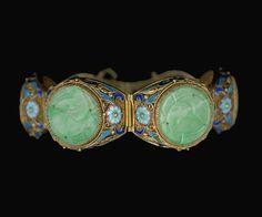 Antique Chinese Enamel Silver Filigree Carved Jade Bracelet Vermeil - $1145.