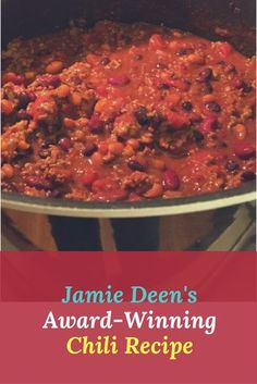 Jamie Deen's Award Winning Chili Recipe -- with ground beef, sausage, three kinds of beans -- and a bottle of beer! Beef Chili Recipe, Chili Recipes, Crockpot Recipes, Soup Recipes, Cooking Recipes, Ground Beef Chili, Ground Beef Recipes, Easy Pasta Recipes