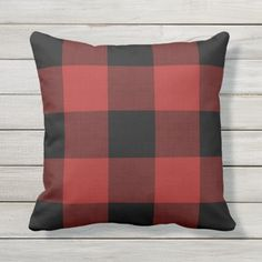 Red Buffalo Check | Outdoor Holiday Pillow #afflink Plaid Throw Pillows, Outdoor Throw Pillows, Decorative Throw Pillows, Buffalo Check Christmas Decor, Plaid Christmas, Christmas Design, Christmas Ideas, Xmas, Buffalo Check Pillows