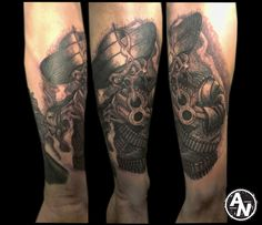 Mexican skeleton with a gun black and grey tattoo