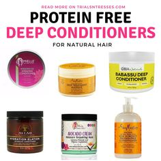 If you're battling a protein sensitivity I've got these bomb Protein Free Deep Conditioners For Natural Hair to help your hair flourish! Protein Free Deep Conditioners For Natural Hair Best Natural Hair Products, Natural Hair Regimen, Natural Hair Care Tips, Curly Hair Tips, Curly Hair Care, Natural Hair Journey, Curly Hair Styles, Natural Hair Styles, Curly Girl