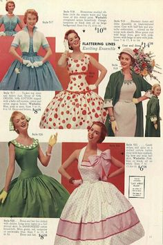 Vintage Dresses Lana Lobell manufactured womens clothing, in New York City's garment district. Her dress catalogs, which are a rarity today, market. Moda Vintage, Moda Retro, Fifties Fashion, Retro Fashion, Vintage Fashion, Womens Fashion, Club Fashion, Fashion Models, Ladies Fashion