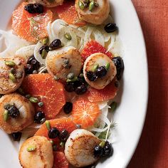 Scallops with blood orange, fennel, pistachios