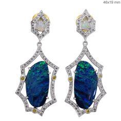 Solid 14k White Gold Opal Gemstone Pave Natural Diamond Dangle Earrings Jewelry #raj_jewels