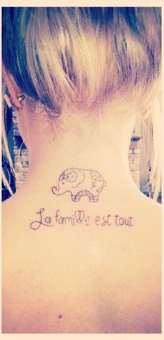 """""""Family is everything"""". Elephant tattoo symbolizing family. #tattoo #elephant #quote"""