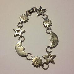 Sterling Moon Star Sun Bracelet 8 Celestial 22 by BargainBitz 60s Jewelry, Jewelery, Handmade Jewelry, Black Friday Specials, 925 Silver, Sterling Silver, Sun And Stars, Southwestern Jewelry, Stone Bracelet
