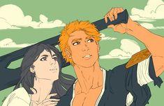 medium rare @hocyod Ichigo X Rukia, Bleach Fanart, Narusaku, Me Me Me Anime, Fan Art, Cat, Medium, Fictional Characters, Sheet Metal