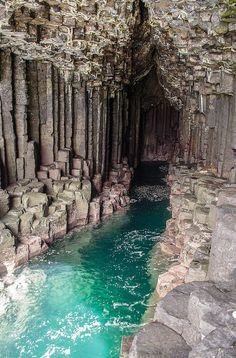The Fingal's Cave in Ireland. It is formed entirely from hexagonally jointed basalt columns within a Paleocene lava flow, similar in structure to the Giant's Causeway in Northern Ireland.