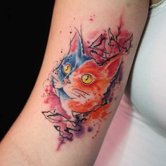 #tattoofriday - Kelvin Gabriel: cores marcantes e muito estilo - tatuagens em aquarela. Taubaté, SP, Brasil; Animal Tattoos For Women, Under My Skin, Tatoos, Cat Tattoos, Tattoo Cat, Skin Art, Tattoo Inspiration, Watercolor Tattoo, Tatting