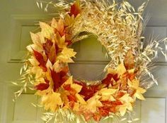 Colorful Fall Leaves Wreath
