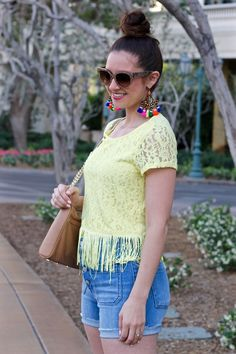 Yellow Fringe Top & Madewell HIgh Rise Denim Button-Up Front Shorts