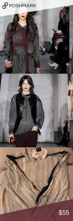 STUNNING Phillip Lim Silk Blouse From Fall 15 Runway Collection!  Show in black and dress versions, this is cream, off yellow, black and red with dramatic flutter fringe  sleeves and dramatic collar.  So beautiful and cool! 3.1 Phillip Lim Tops Blouses