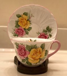 cd2bc4c5a33 Shelley Cup And Saucer Set With Yellow and Pink Roses Fine English Bone  China Teacup   Saucer