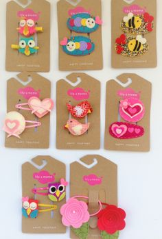 Be mine.Lily and Momo Valentine hair clips.