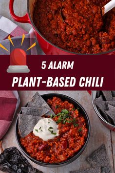 5 alarm plant-based chili is the rich, spicy hot, flavorful, and healthy chili 'non-Carne' that warms you up inside and out. #anothermusicinadifferentkitchen #veganchili #5alarm Healthy Chili, Vegan Chili, Plant Based Diet, Plant Based Recipes, Chili Recipes, Vegan Recipes, Main Meals, Whole Food Recipes, Food Processor Recipes