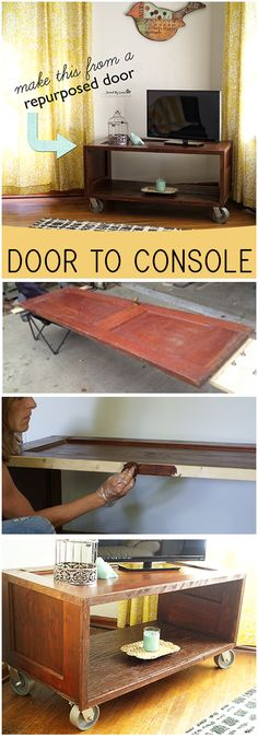 Repurposed Door Upcycle Project; Make a console from an old door @savedbyloves