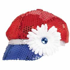 Patriotic Sequined Hat with Flower