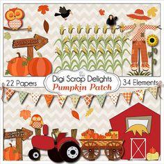 Pumpkin Patch Clip Art Autumn Pumpkins, Fall Party,  Owls, Tractor, Hay, Scarecrow, Crows, Instant Download, Farm