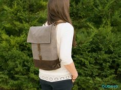 Grey-Brown Backpack Shoulder Bag Diaper Handbag Leather Grey Fabric, Cotton Fabric, Leather Backpack, Leather Bag, Brown Backpacks, Brown And Grey, Leather Handbags, Messenger Bag, Nursery