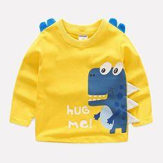 Childen T-shirts sweatshirt Boys T shirt Kids Long Sleeve T-shirts Children Camiseta Cartoon Dinosaur Roupas Infantis Baby Outfits Newborn, Baby Boy Outfits, Kids Outfits, Cute Tshirts, Boys T Shirts, Toddler Fashion, Fashion Kids, Womens Fashion, T Shirt Body