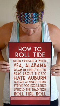 Alabama Art Print Roll Tide Quote Poster Sign by SmartyPantsStudio