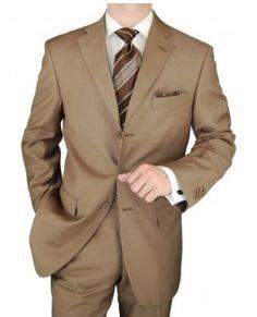3 Button Jacket Flat Front Pants 2 Piece Suit