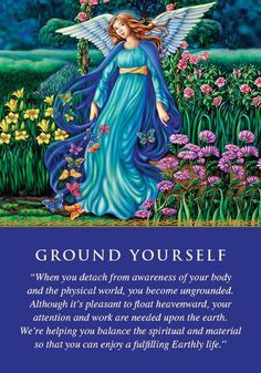 """This card is a signal that your energy and attention need to be grounded. If you've been feeling spacey, confused, or forgetful, this card speaks to the reason. """"Ungroundedness"""" means that your attention is directed up too high—as if you're not in your body. A balance is needed between a focus on spirit and a focus on Earth. You can ground yourself by walking barefoot on grass or soil, by eating foods from the ground like potatoes or carrots, by rubbing your bare feet, by touching a tree…"""