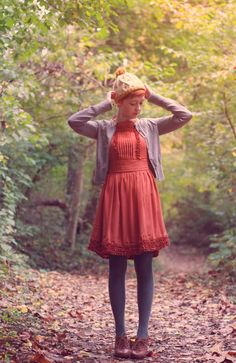 rust/persimmon dress, gray cardigan, dark gray tights, brown shoes | The Clothes Horse: Wondering About Waiting