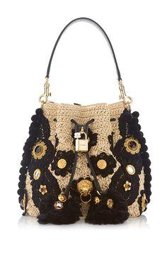 Claudia In Beige & Black Bucket Bag by DOLCE & GABBANA for Preorder on Moda Operandi