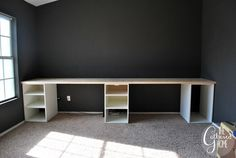 Terrific How To Make DIY Ikea Hack Desk with Plank Top – File cabinets instead would do nicely. The post How To Make DIY Ikea Hack Desk with Plank Top – File cabinets instead would do n… appeared first on Home Decor Designs 2018 . Desk Hacks, Ikea Hacks, Hacks Diy, Ikea Desk, Diy Desk, Ikea Ikea, Home Office Space, Home Office Design, House Design