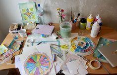 Untidy studio space. Still sunshiny ;) Artist Lone Aabrink ( www.aabrink.dk )