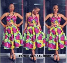 Ankara Crop top and skirt  ~African fashion, Ankara, kitenge, African women dresses, African prints, Braids, Nigerian wedding, Ghanaian fashion, African wedding ~DKK