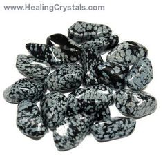 Tumbled Snowflake Obsidian from the United States Tumbled Snowflake Obsidian, is a black Obsidian with lacy white inclusions of the mineral No Waste, Healthy Environment, Snowflake Obsidian, Crystal Meanings, Prayer Cards, Tumbled Stones, Inspirational Message, Healing Stones, Healing Crystals