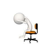 Personaje trastornado o presionado en silla.