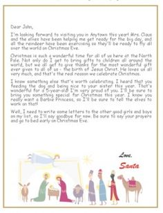 Free Printable Letter From Santa That Talks About Jesus  The