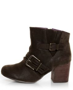 For not normally liking chunky heels... I DO love these! Blowfish Tarta Dark Brown Belted Ankle Boots. LuLu*s. $63